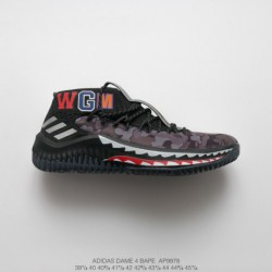 Ap9978 Original BAPE X Adidas Dame 4 Lillard 4th Generation Bape Crossover Shark Collection Basketball-Shoes