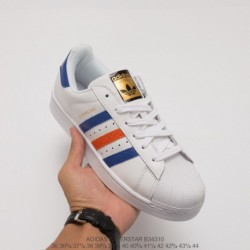 B34310 upper adidas shell head white blue red classic look