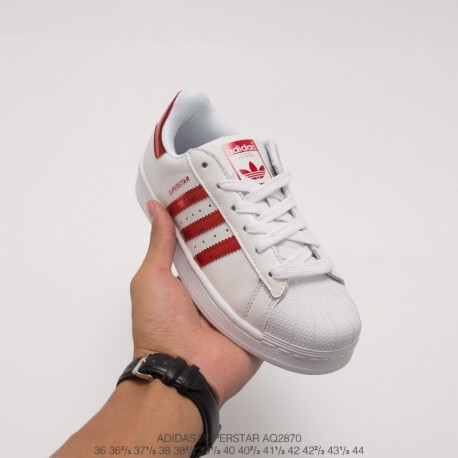 Aq2870 upper adidas shell head white red glossy classic look