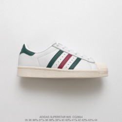 Cq2654 top-grain Leather Premium FSR Adidas Originals Superstar 80s Vintage Classic All-match Shell Skate Shoes OG White Green