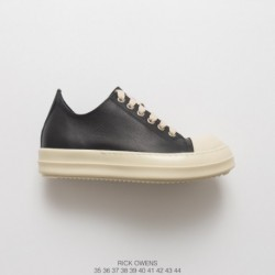 Rick Owens Spot RICK Owens Ro Vice Line 17 Deadstock Leather Upper UNISEX Low Shoes Black And White Color Matching DRKSHDW Robo