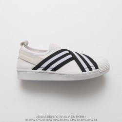 By2881 FSR Adidas Originals Superstar Slip-On breathable strap slip-Ons/Loafers shell head skate shoes