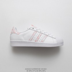By2971 soft bottom adidas superstar shell head classic skate shoes white powder stain splash