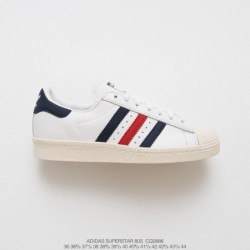 Adidas-Originals-White-And-Navy-Superstar-Adidas-Originals-Superstar-Track-Top-Navy-CQ2886-Top-Grain-leather-UNISEX-Deadstock-A