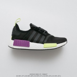 D96627 Official New Color UNISEX Adidas Originals NMD-R1 all-Match athleisure shoe trainers shoes knitting black fluorescent gr