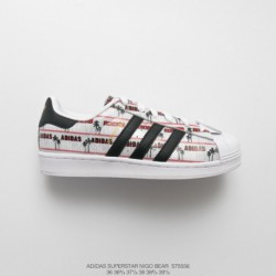 S75556 FSR Womens Adidas Superstar Nigo Bear X Adidas Superstar Crossover Cooperative Carving Bear Head Leisure Skate Shoes