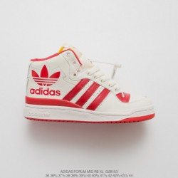 G28153 Original Box Original Adidas Forum Mid High UNISEX Trend Skate Shoes Premium Leather Upper Leisure Shoe White Red