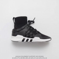 By8305 Adidas EQT Support Adidas V Sock Mid Sets Foot Socks High Street Jogging Shoes Black And White Knitting Leather