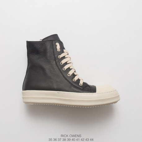 Rick Owens Spot RICK Owens Ro Vice Line 17 Deadstock Leather Upper UNISEX High Shoes Black Off-white Color Matching DRKSHDW Rob